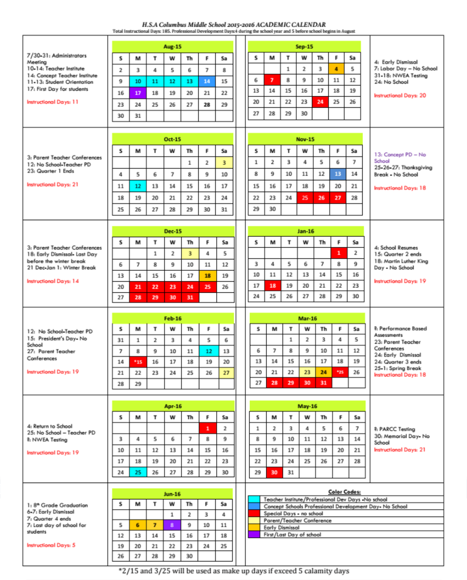 Academic Calendar Horizon Science Academy Columbus Middle School